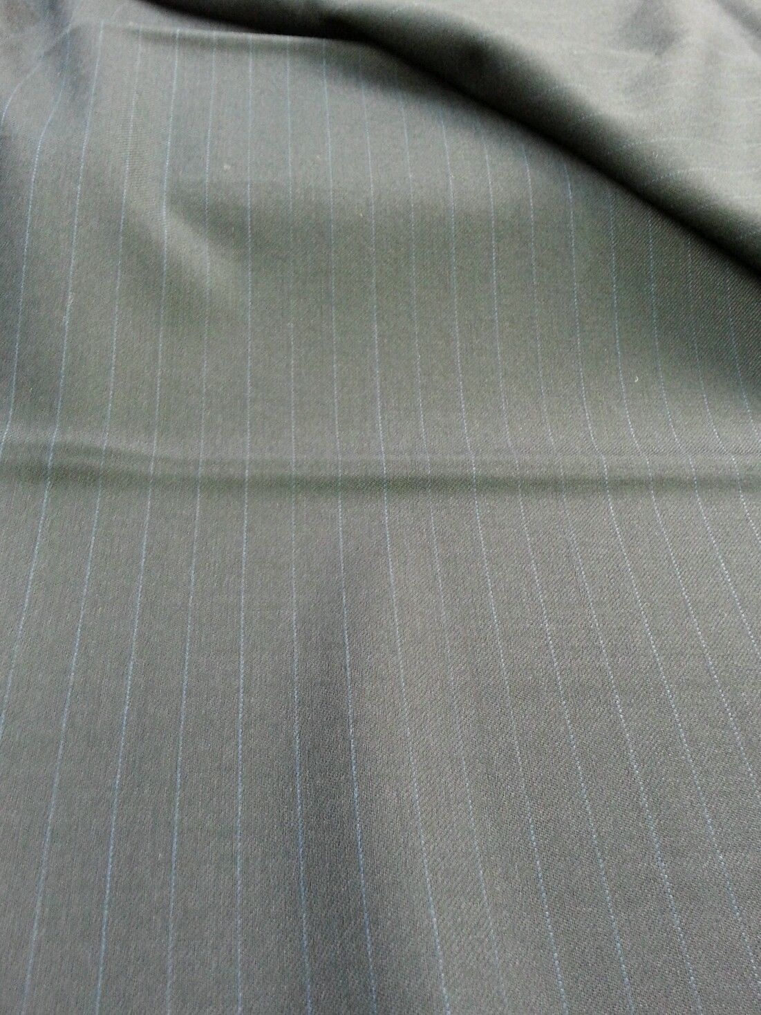 9 YRD NAVY BLUE SUPER 120'S ENGLISH WOOL Pin Stripe Suit Skirt  Sewing Fabric