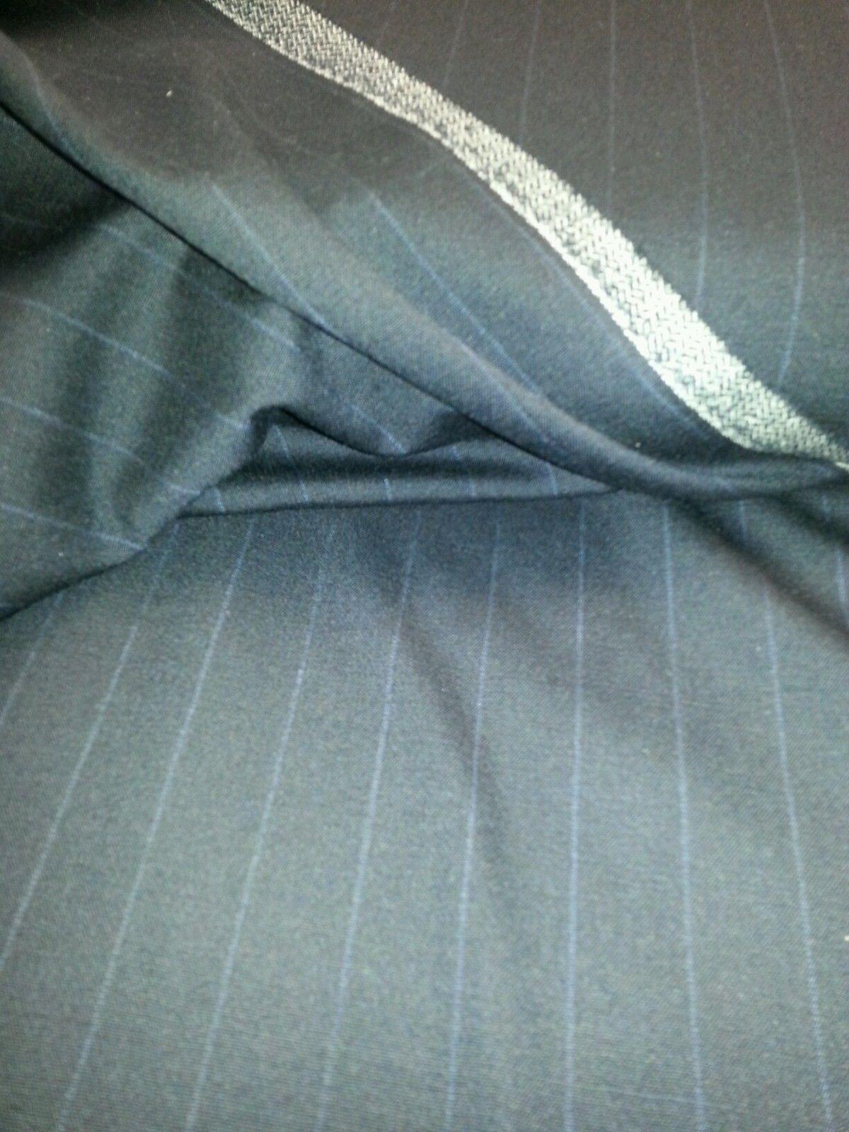 """By The Yard  Navy Blue Pin Stripe 130'S Lightweight Rich ITALIAN Wool 58"""" wide"""