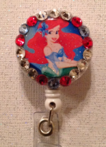 Ariel Little Mermaid Badge Reel - Ariel Id Holder Lanyard - Swarovski Cr... - $10.99