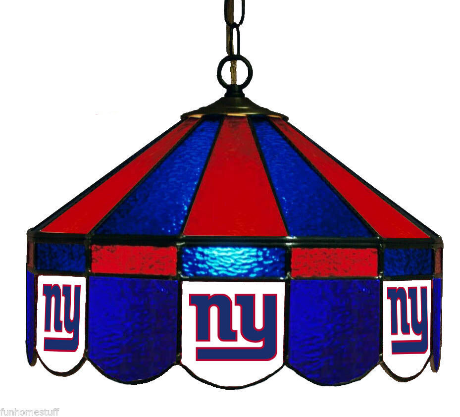 "NEW YORK GIANTS NFL 16"" STAINED GLASS HOME PUB BAR TABLE HANGING LAMP LIGHT"