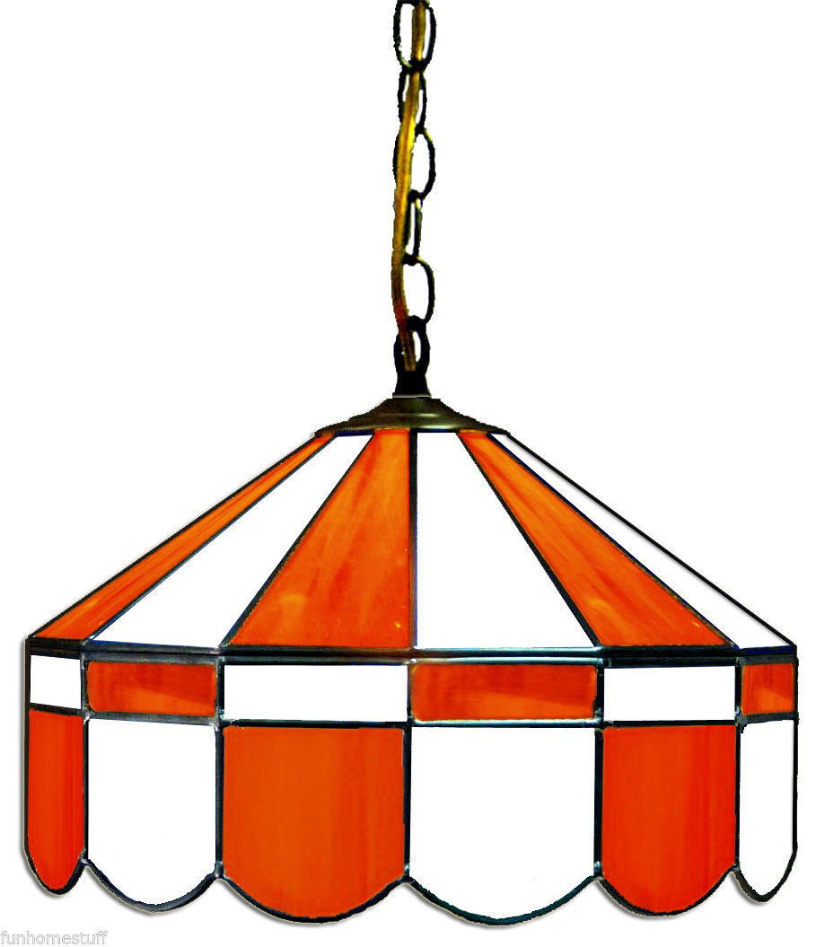 "ORANGE & WHITE 16"" STAINED GLASS HANGING PUB LIGHT FIXTURE BAR TABLE GAME LAMP"