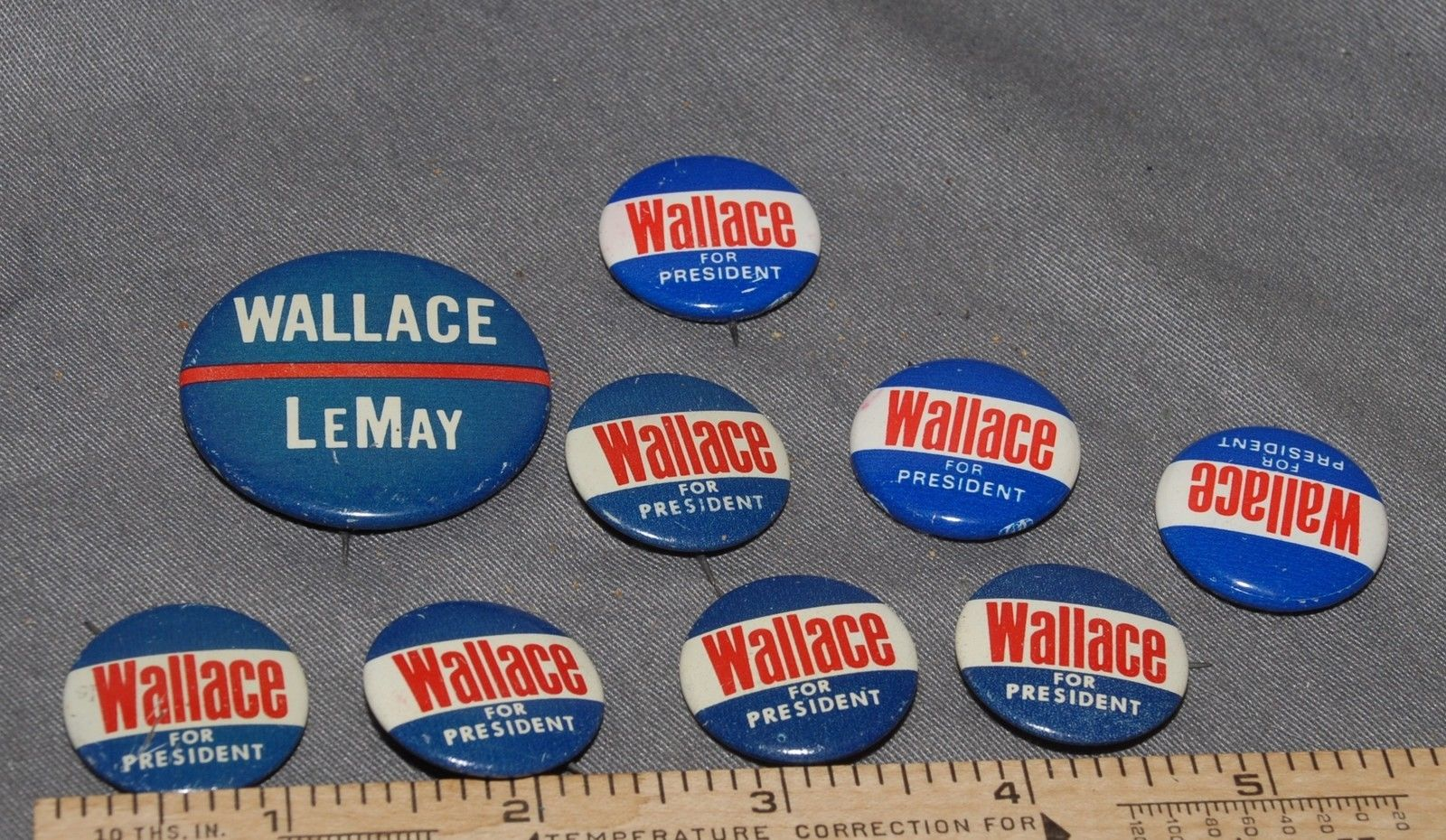 NINE (9) GEORGE WALLACE & CURTIS LEMAY PRESIDENTAL CANDIDATE BUTTONS