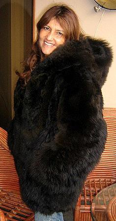 Fashionable dark brown hooded Jacket, made of baby alpaca fur, x- small