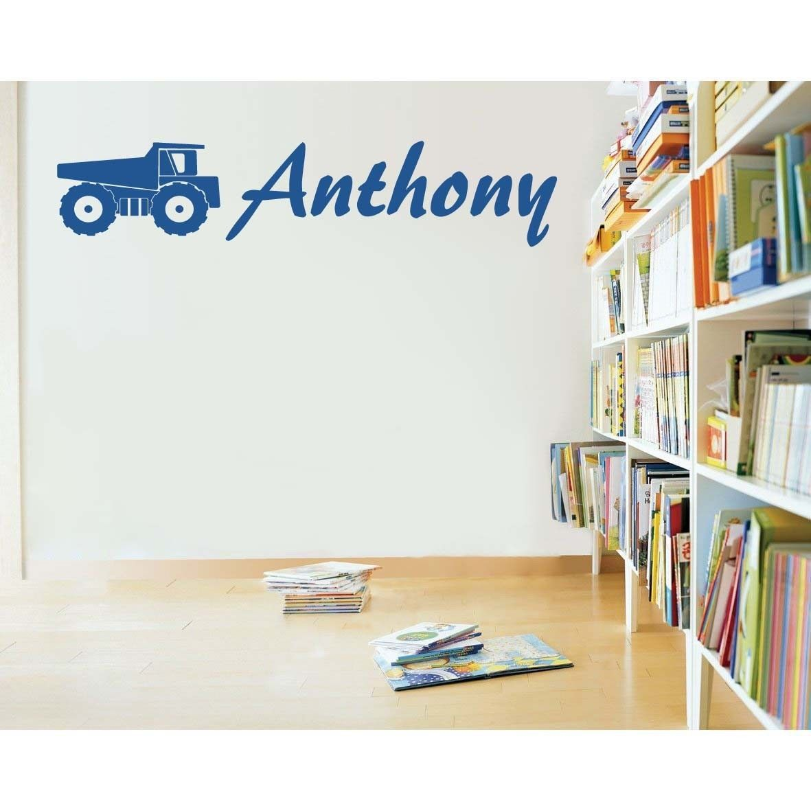 "Custom Dump Truck with Name Vinyl Wall Sticker Decals 11""h x 35""- 45""w"