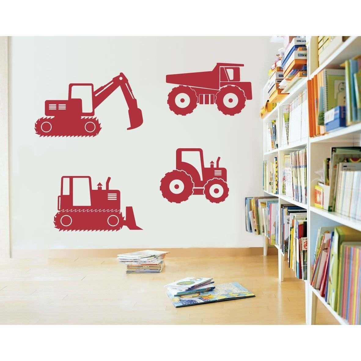 """Construction Vehicles Trucks Vinyl Wall Sticker Decals 22""""- 35""""w (4 Designs)"""