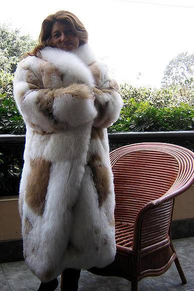 Babyalpaca pelt long coat, fur outerwear, Large