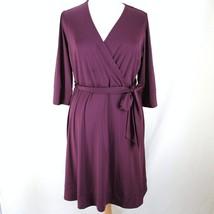 INC International Concept Dress 1X Purple Faux Wrap 3/4 Sleeve Stretch P... - $24.99