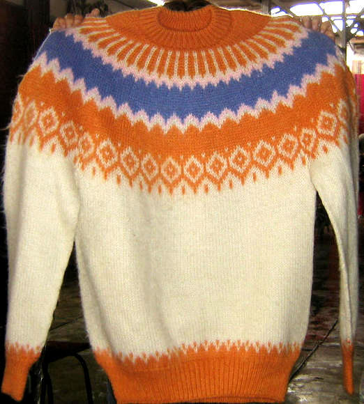 Colorful turtleneck Kids sweater made of Alpacawool