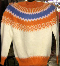 Colorful turtleneck Kids sweater made of Alpacawool - $65.00