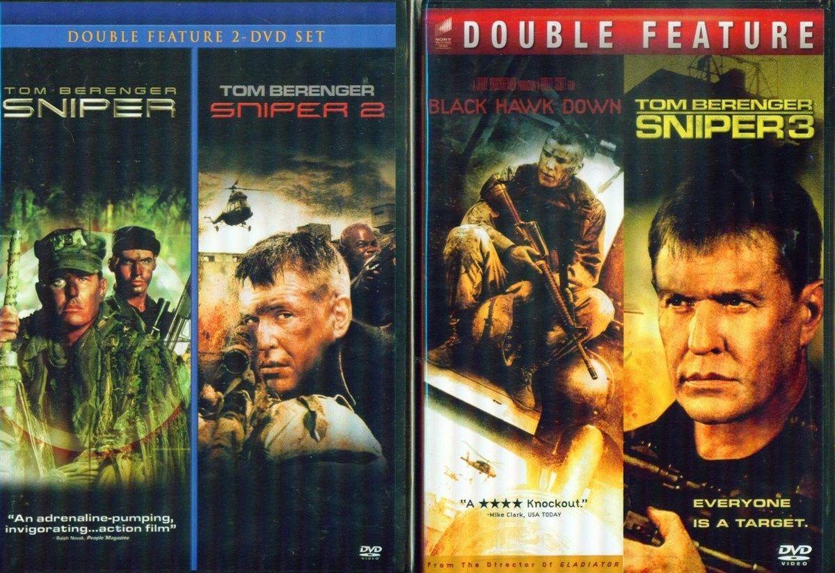 SNIPER 1-2-3+ Black Hawk Down- Tom Berenger+Billy Zane- Military\War- NEW DVD's