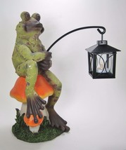 "13.5"" Frog on Mushroom Figurine Holding Tea Light Candle Lantern Garden Decor - $24.70"