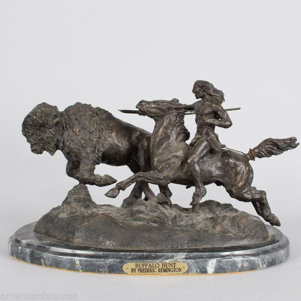Buffalo Hunt Collectible Solid Bronze Sculpture Statue By F. Remington Large FS!