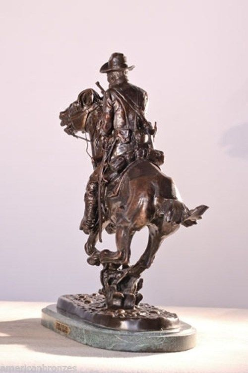 Trooper of The Plains Solid American Bronze Statue by Frederic Remington - Reg