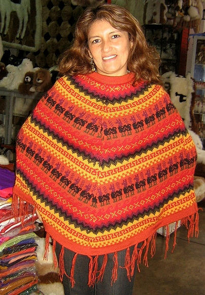 Peruvian ethnic Poncho made of alpaca wool,outerwear