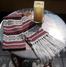 Alpaca wool knitted scarf, shawl with peruvian design - $45.00