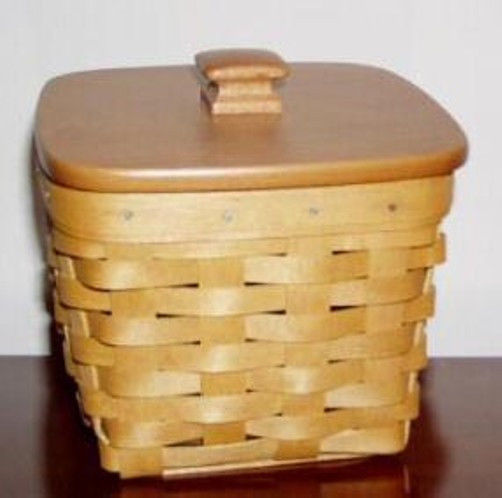 Longaberger Small Desktop Basket Woven Traditions Plaid Fabric Over Edge Liner