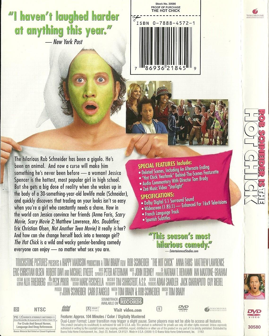 The Hot Chick DVD Rob Schneider Anna Faris Rachel McAdams Adam Sandler