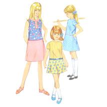 Vtg 60s Simplicity 6897 Girls Drop Waist Dress A-Line Short Sleeve Sleev... - $6.95