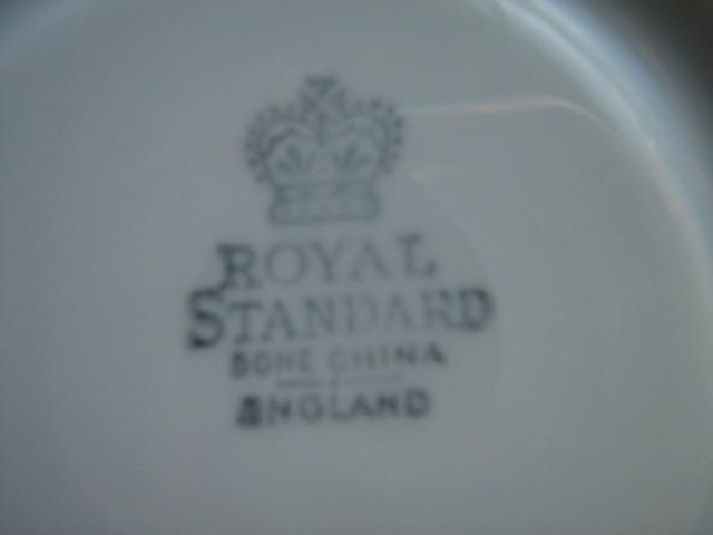 Royal Standard English Bone China Cup & Saucer - Enameled Yellow Polka Dots