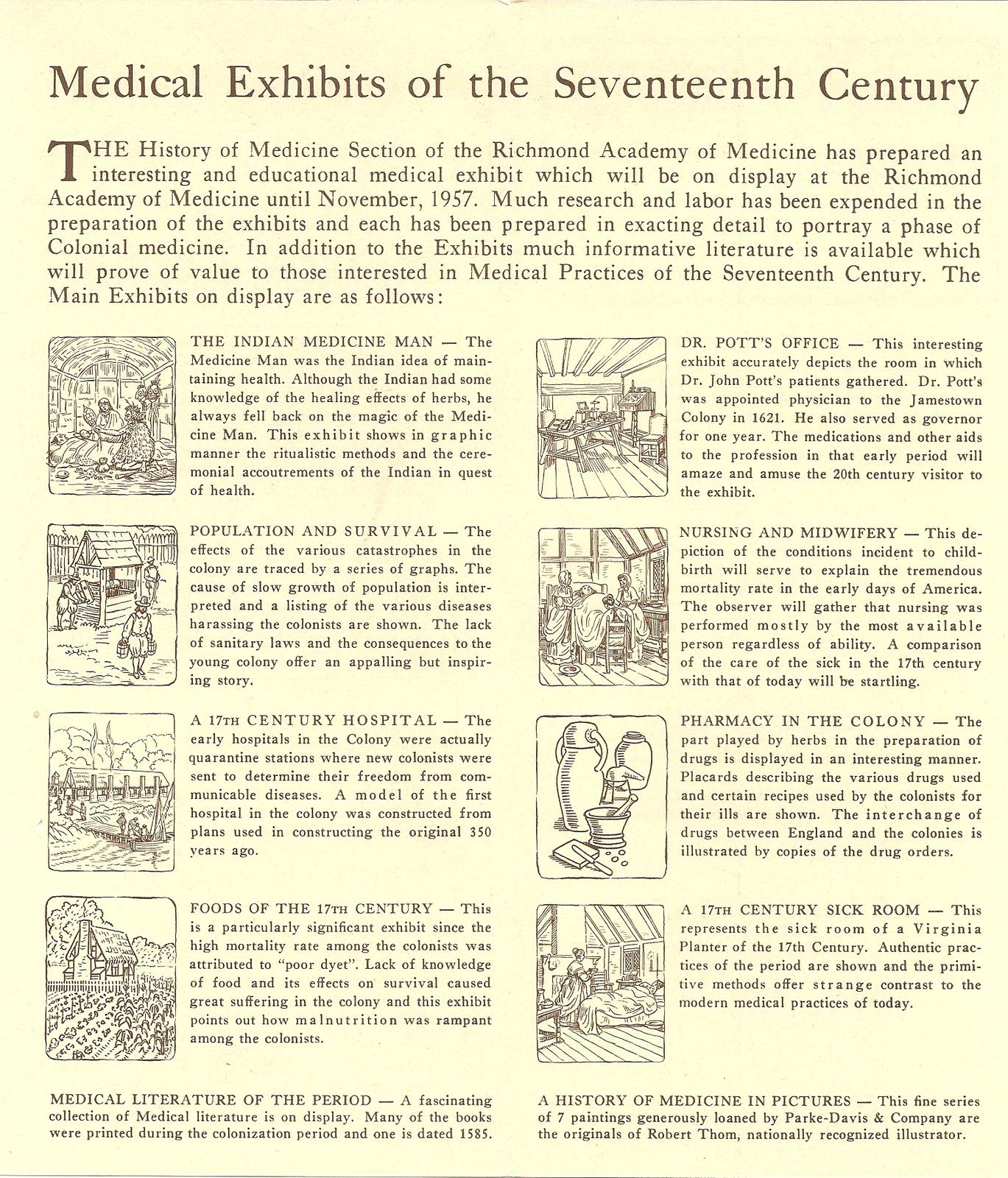 1957 Jamestown Festival Medical Exhibit brochure