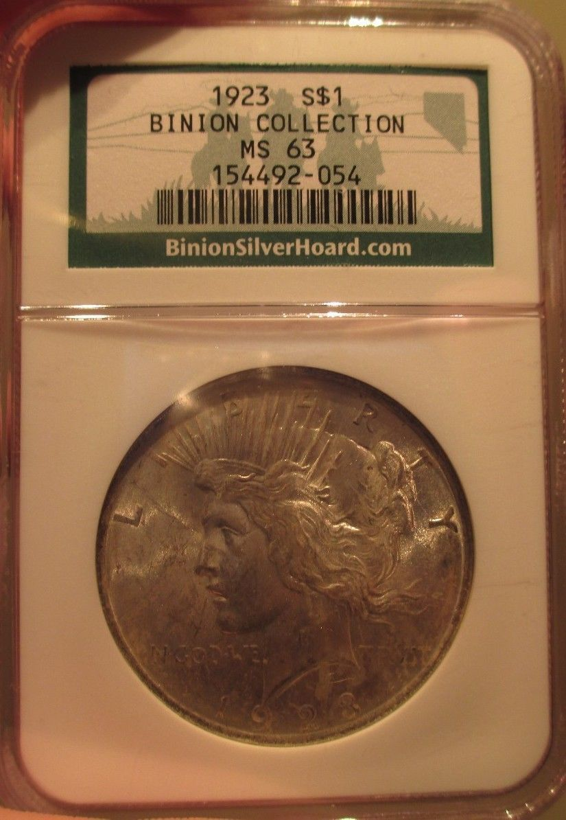 1923 Silver Peace Dollar Ted Binion Casino Collection NGC MS 63 Pedigree Coin