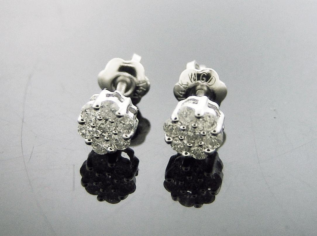 Ladies flower small earrings 14k w gold 0.25ct Genuine white Diamonds Hoop 5.5mm