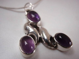 LAST ONE! Amethyst 3-Gem Sterling Silver Necklace New - $23.06