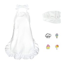 VMNlooking Premium Girls Chef Hat and Apron with Pocket,Kids Cooking and... - $19.28