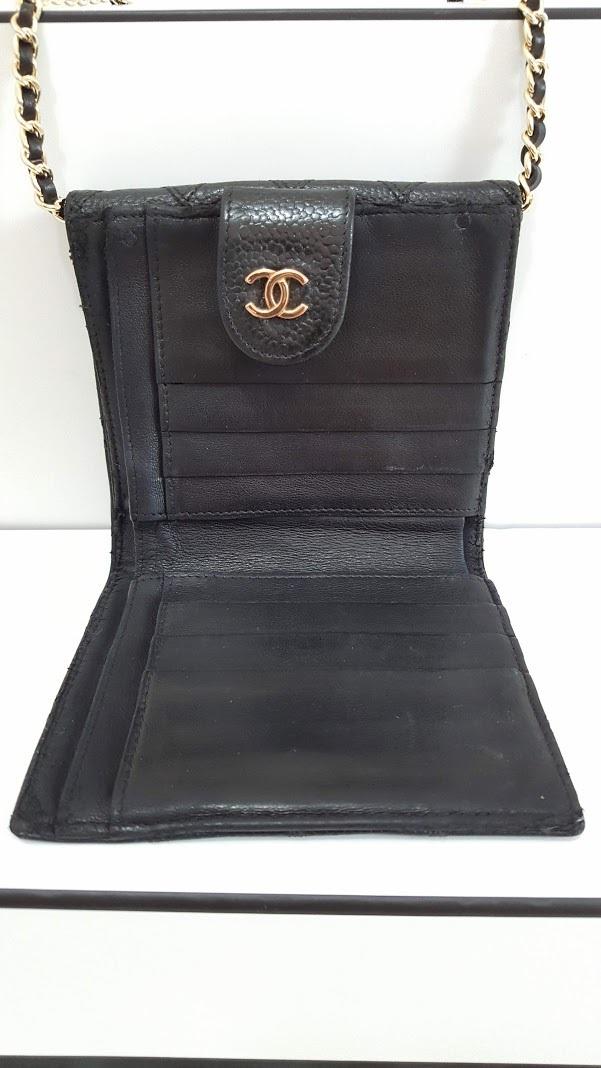 Auth Chanel Diamond Stitch Gold CC Caviar 2 in 1 Wallet Mini WOC Crossbody Bag image 6