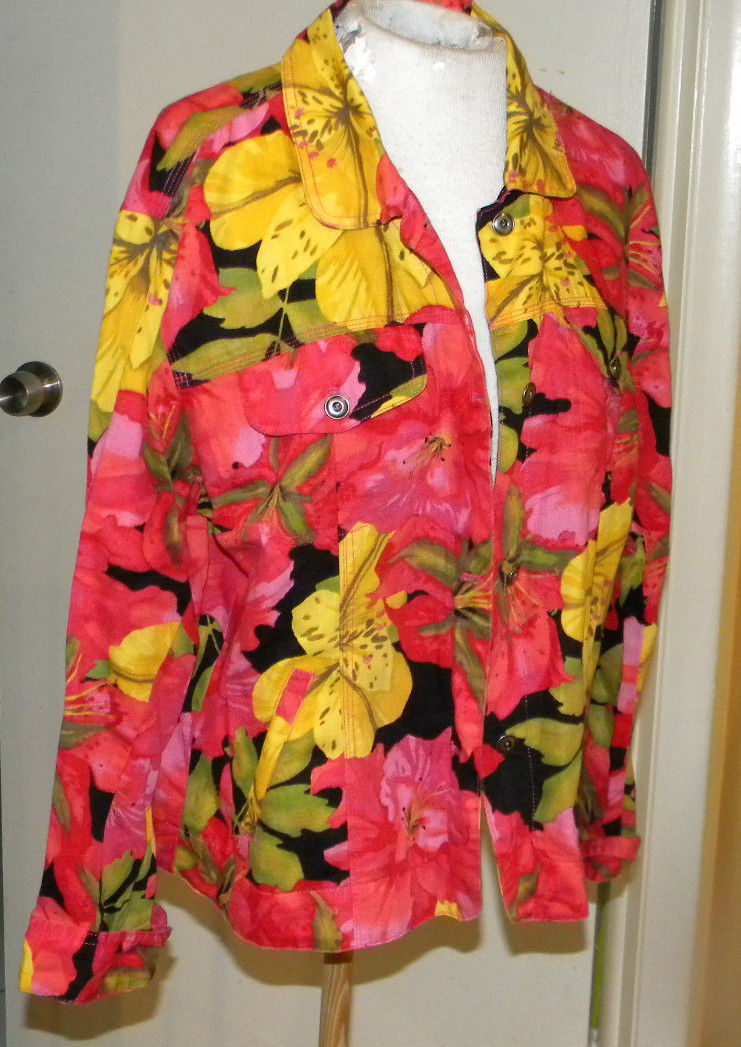 Chico's floral prnt long sleeve front close Blouse jacket top coverall sz 2 M L