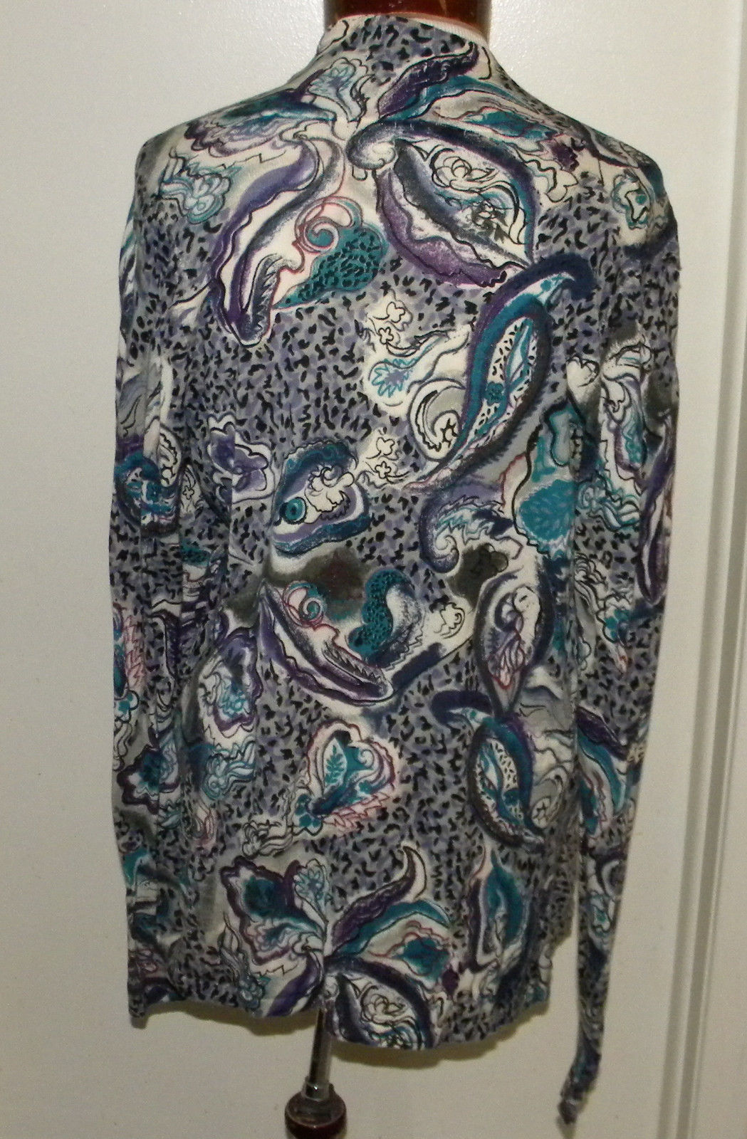 ChARTER CLUB abstract floral print blouse knit top long sleeve M (8-10) fitted