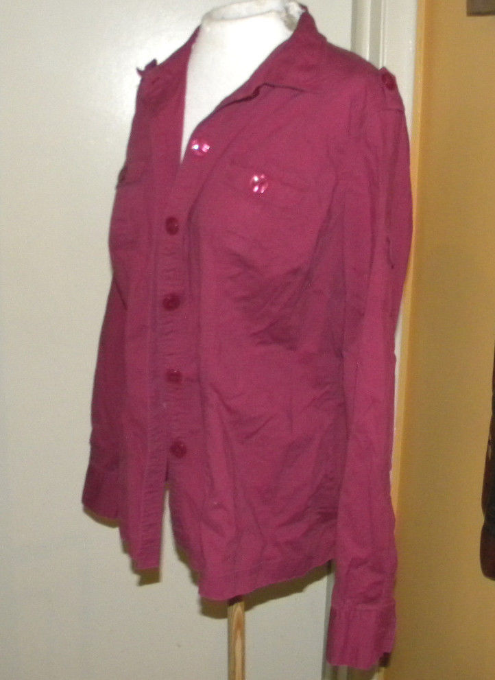 Style & Co Button Down Stretch Blouse Front Pockets Long Sleeves sz 18 Red Mauve