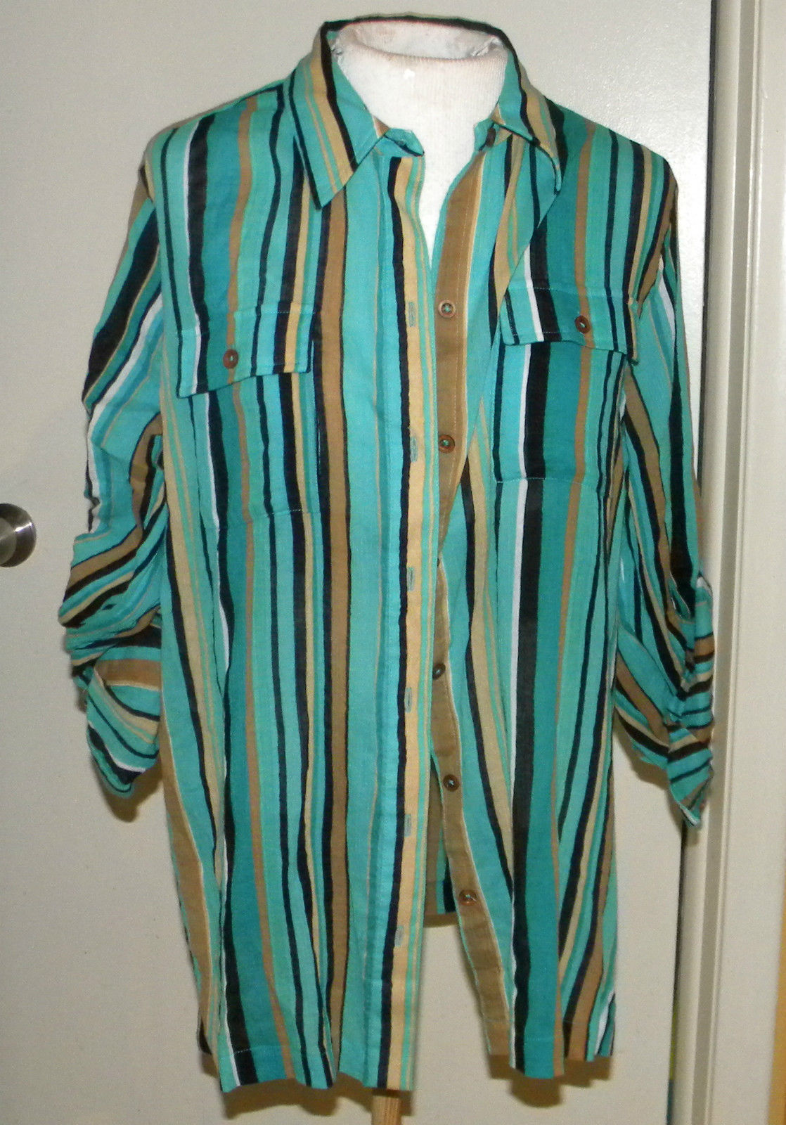 JONES New York NY long sleeve button front blouse M (8-10) blue vertical stripe