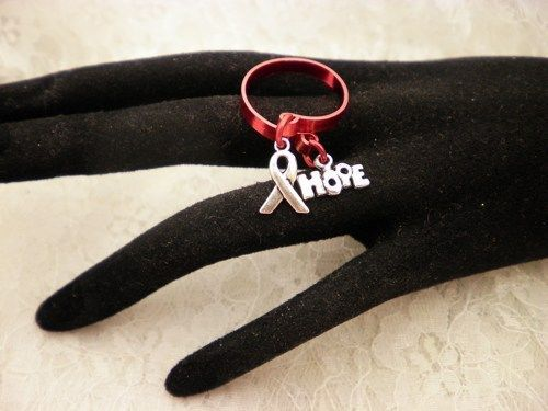 Awareness Flat Wire Red Adjustable Charmed Ring Choose Your COLOR
