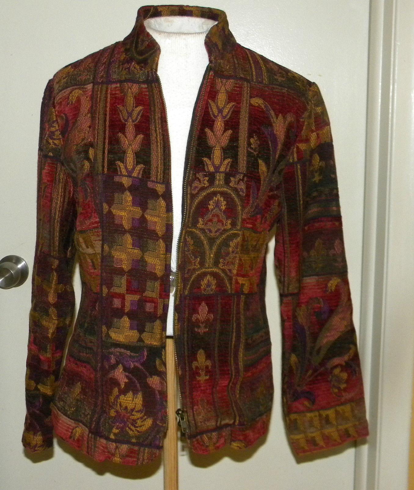 COLDWATER CREEK tapestry double zipper jacket zip-up blazer sz PS Small
