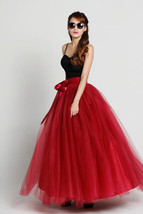 Adult Long Red Tulle Skirt 4-Layered Floor Length Tulle Skirt Plus Size image 2