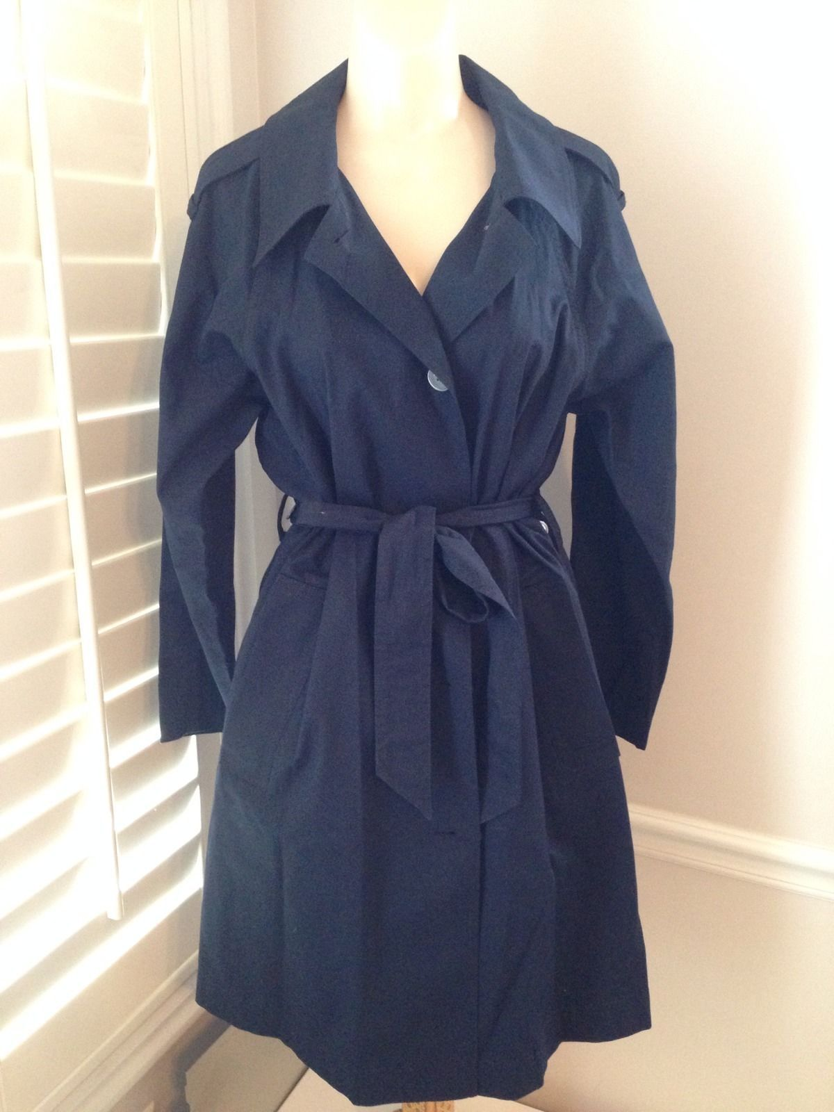 MARC BY MARC JACOBS STANDARD SUPPLY NAVY COTTON TRENCH COAT - SIZE L -NWT $498