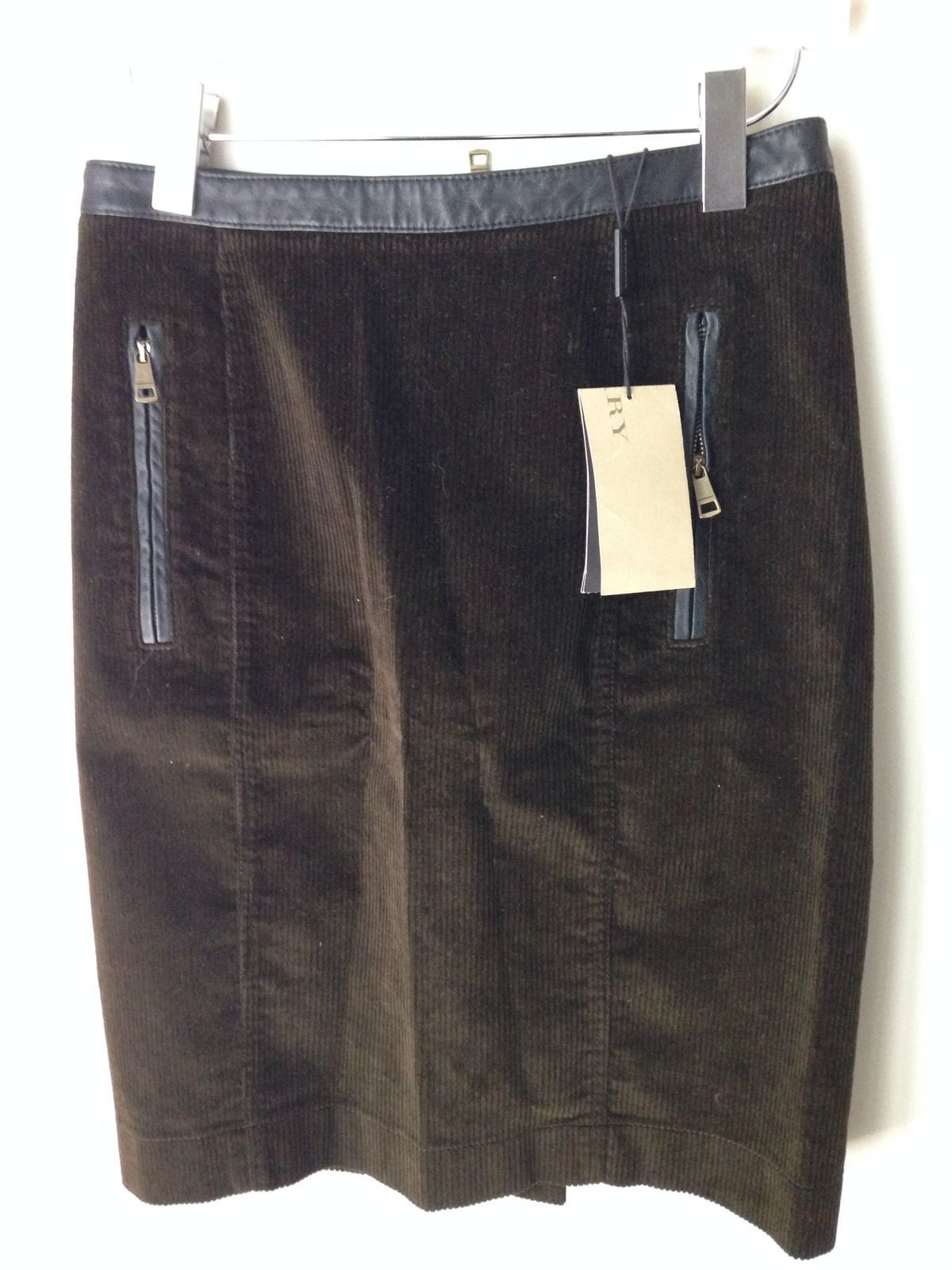 BURBERRY BRIT CORDUROY LEATHER TRIM PENCIL SKIRT - NWT SIZE US8