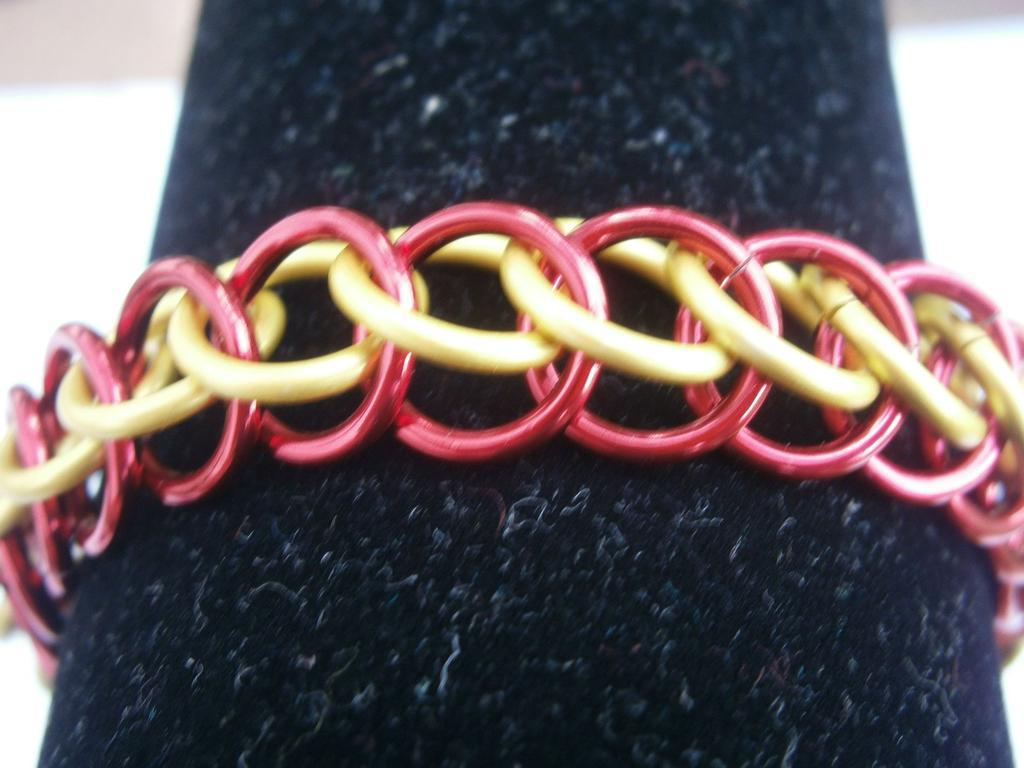 Bracelet red and yellow Half Persian 3 in one maille jewelry handmade crafts