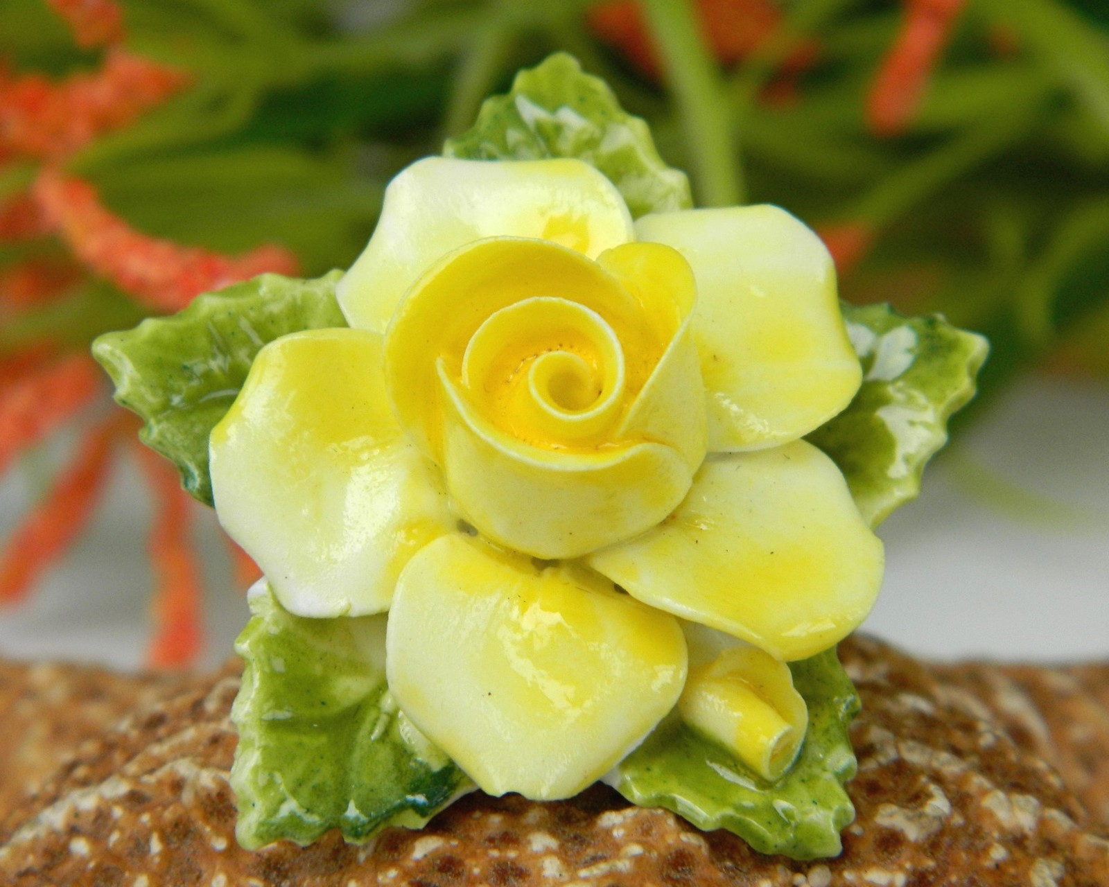 Primary image for Vintage Yellow Porcelain Blooming Rose Flower Brooch Pin England