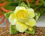 Vintage yellow porcelain blooming rose flower brooch pin england thumb155 crop