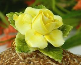 Vintage Yellow Porcelain Blooming Rose Flower Brooch Pin England  image 2