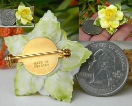 Vintage Yellow Porcelain Blooming Rose Flower Brooch Pin England  image 3