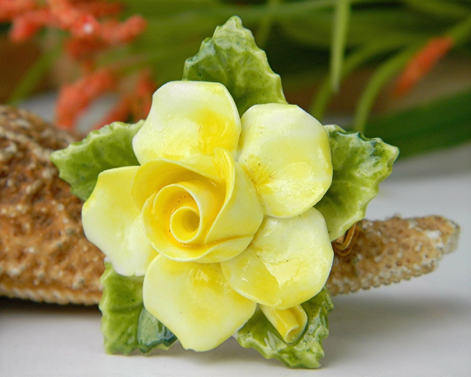 Vintage Yellow Porcelain Blooming Rose Flower Brooch Pin England