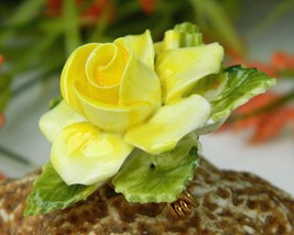 Vintage Yellow Porcelain Blooming Rose Flower Brooch Pin England  image 5
