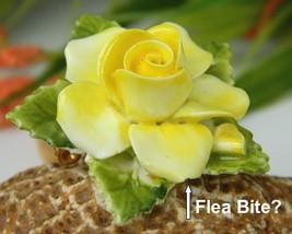 Vintage Yellow Porcelain Blooming Rose Flower Brooch Pin England  image 6