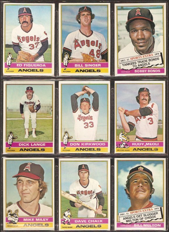 1976 TOPPS CALIFORNIA ANGELS TEAM LOT {10} BOBBY BONDS FIGUEROA SINGER MELTON ++