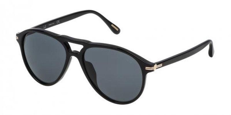 Nuevo Dunhill Gafas de Sol SDH048 700P Negro Brillante con / Gris Polarizados