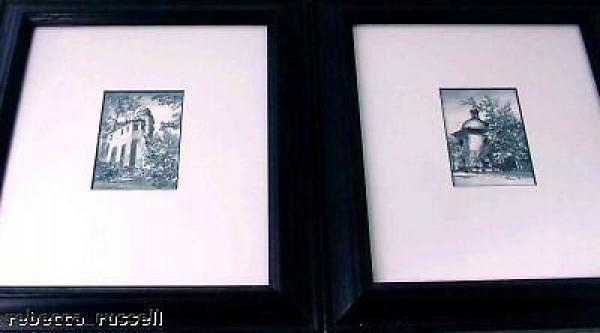 Pair Grey Wash Framed Watercolours Krakow Poland 1996