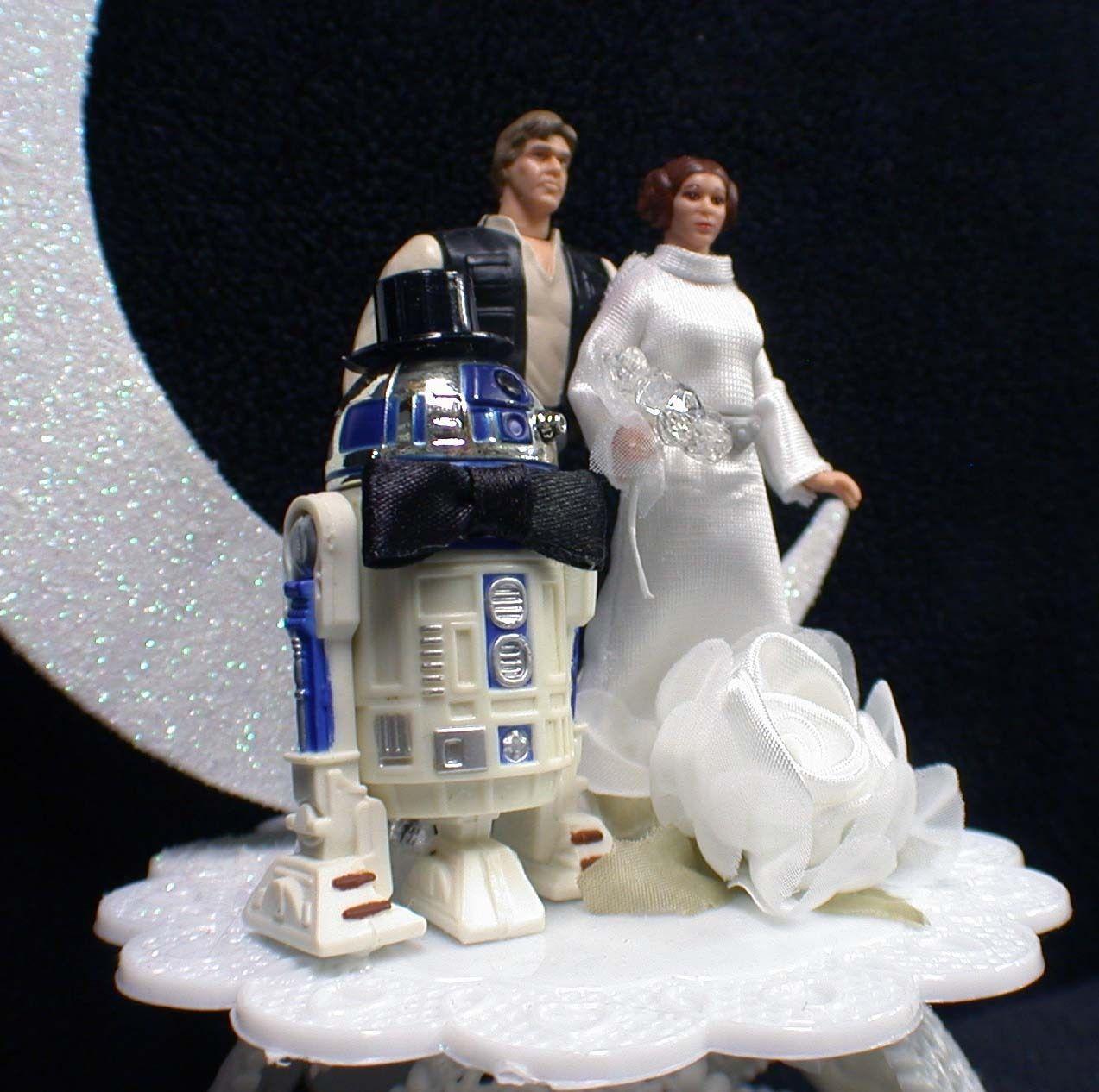 Star War Unique Wedding Cake: Star War Wedding Cake Topper Han Solo Princess Leia R2
